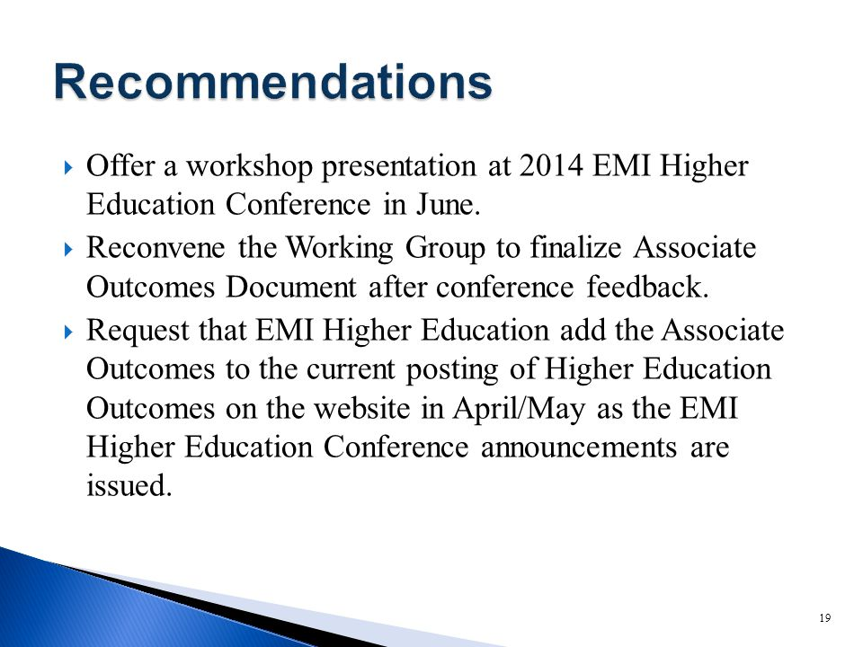  Offer a workshop presentation at 2014 EMI Higher Education Conference in June.  Reconvene the Working Group to finalize Associate Outcomes Document