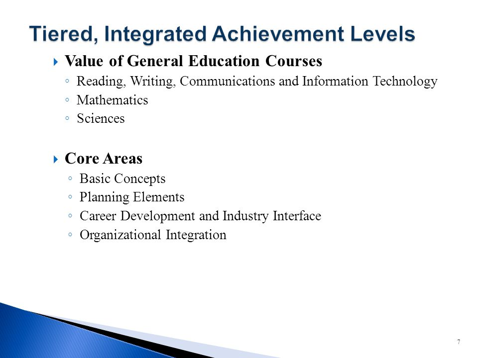  Value of General Education Courses ◦ Reading, Writing, Communications and Information Technology ◦ Mathematics ◦ Sciences  Core Areas ◦ Basic Concepts ◦ Planning Elements ◦ Career Development and Industry Interface ◦ Organizational Integration 7