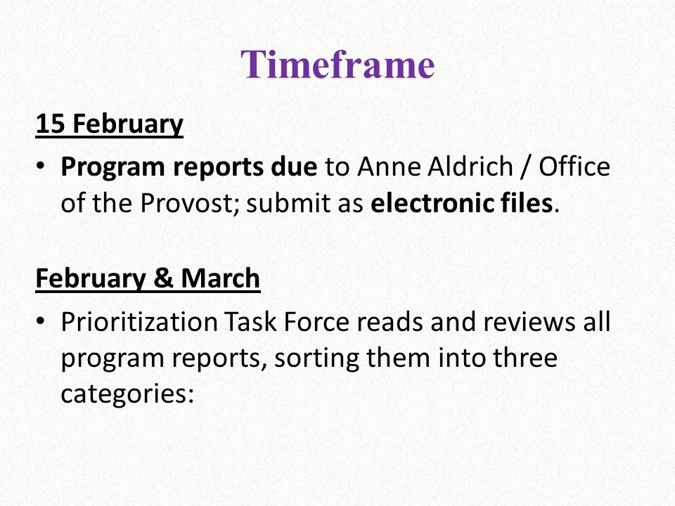Timeframe 15 February Program reports due to Anne Aldrich / Office of the Provost; submit as electronic files. February & March Prioritization Task Fo