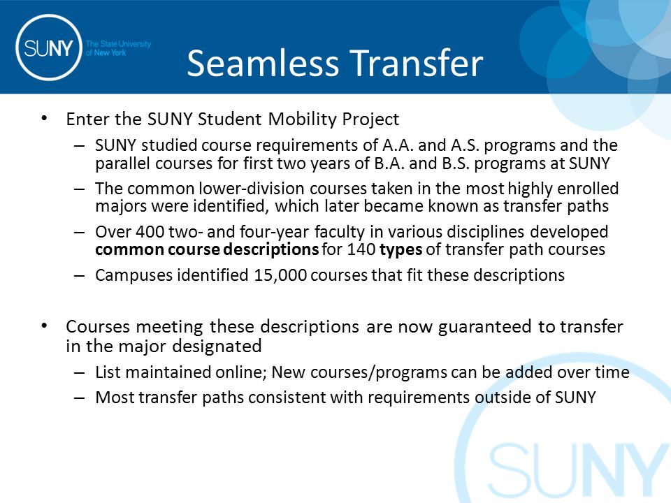 Seamless Transfer Enter the SUNY Student Mobility Project – SUNY studied course requirements of A.A.
