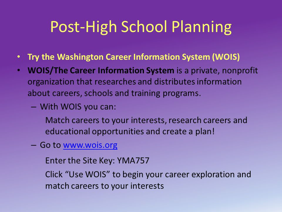 Post-High School Planning Try the Washington Career Information System (WOIS) WOIS/The Career Information System is a private, nonprofit organization