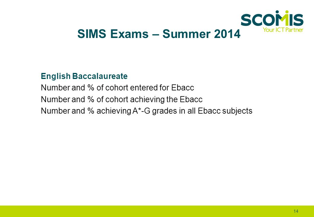 SIMS Exams – Summer 2014 English Baccalaureate Number and % of cohort entered for Ebacc Number and % of cohort achieving the Ebacc Number and % achiev