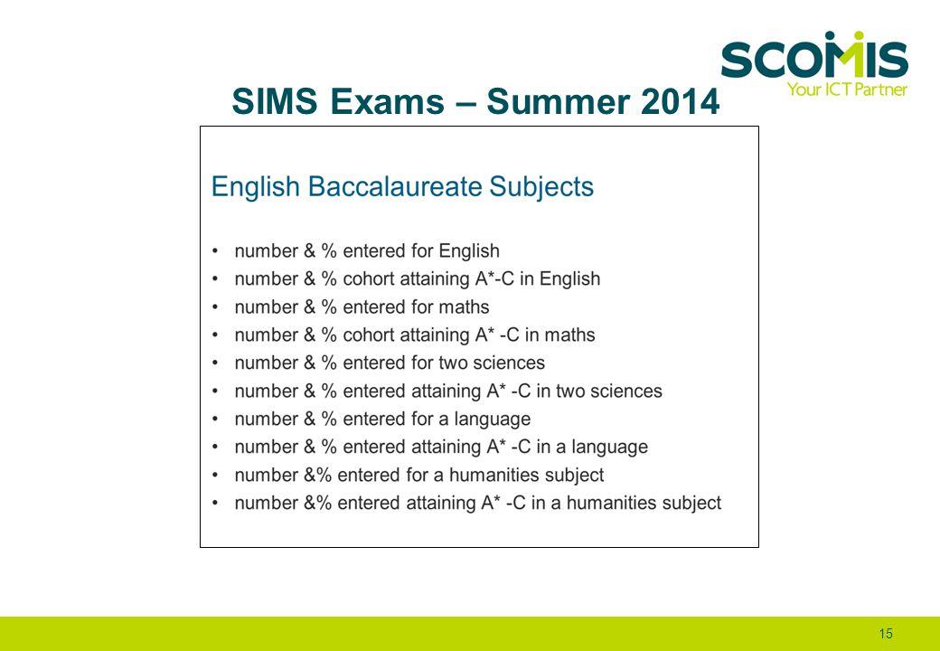 SIMS Exams – Summer 2014 15