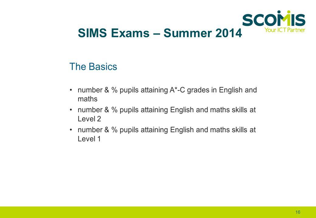 SIMS Exams – Summer 2014 16