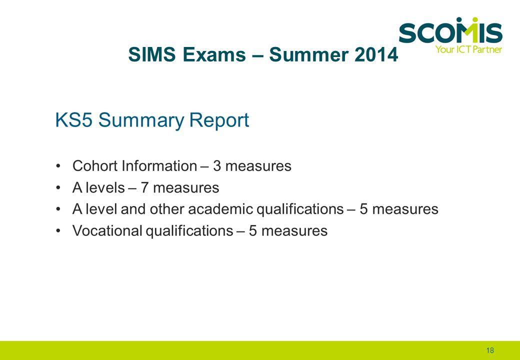 SIMS Exams – Summer 2014 18