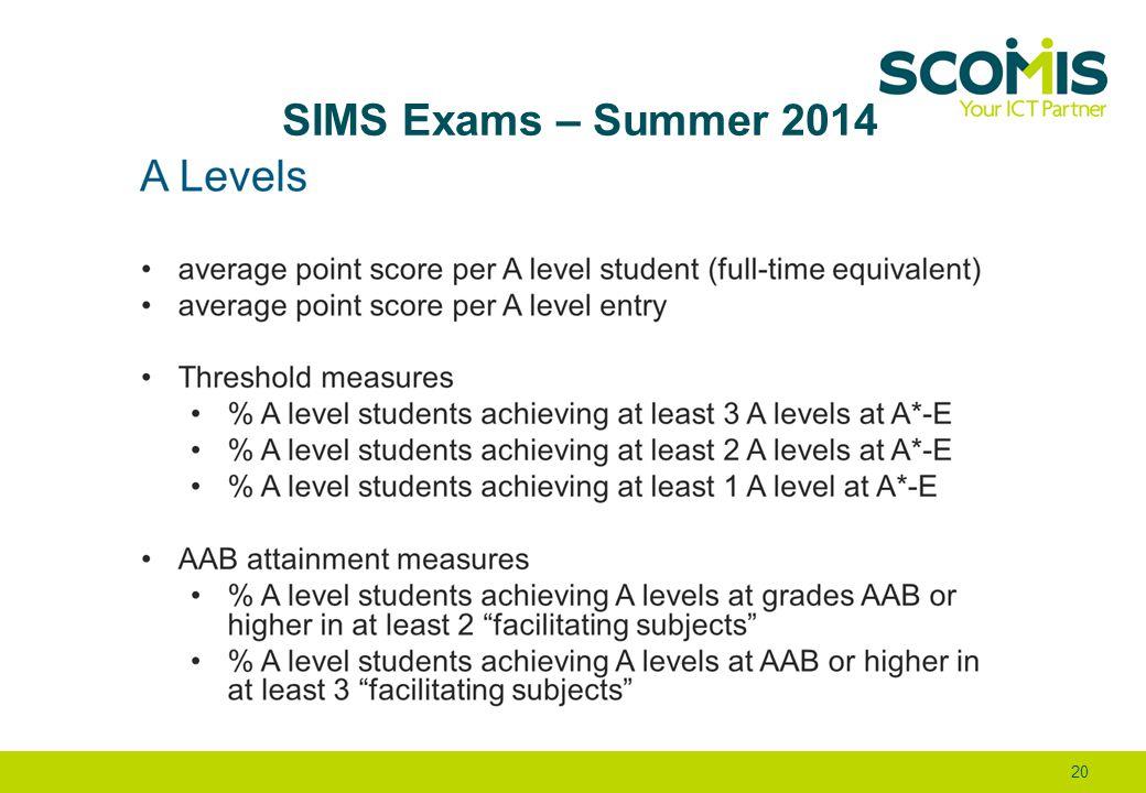 SIMS Exams – Summer 2014 20