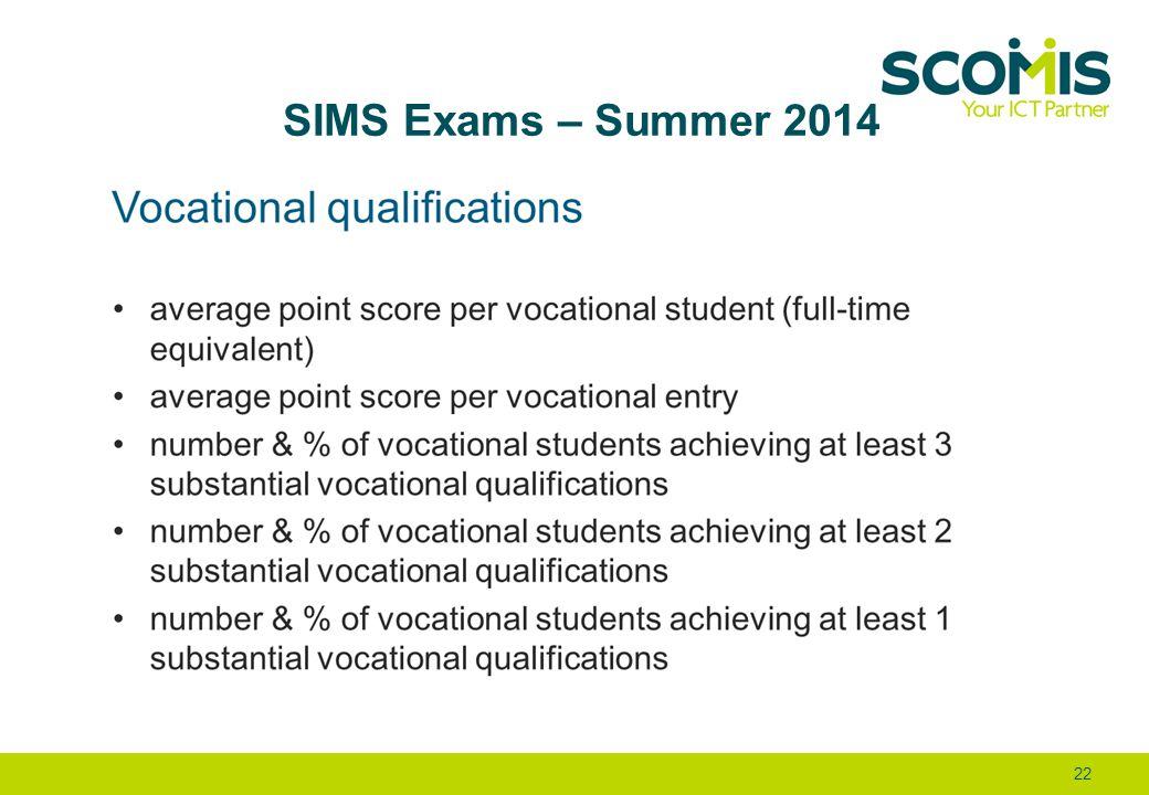 SIMS Exams – Summer 2014 22