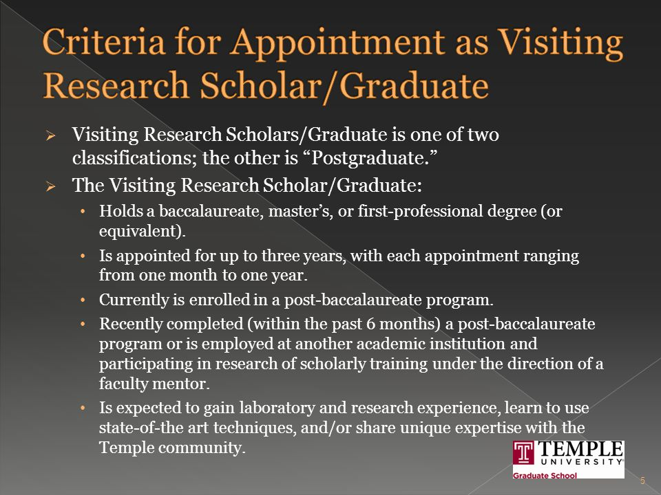  Prior to the Visiting Research Scholar's start date, the Business Manager schedules the following for the candidate: Meeting with the Office of International Student and Scholar Services, if the candidate is a foreign national, upon arrival at the University Orientation with Nina Marie Campellone, Project Manager, Postdoctoral Fellows Office University Orientation with the Department of Human Resources, if the candidate is receiving a Temple stipend and the appointment is for longer than 6 months, by contacting Kimberly Sakil, Training Coordinator  ksakil@temple.edu  215-926-2218 Environmental Health and Radiation Safety (EHRS) Training, if applicable, through Geoffrey Silverberg, Training Program Coordinator  geoffrey.silverberg@temple.edu  215-707-2520 26