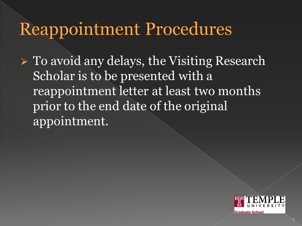  If the Visiting Research Scholar is not performing up to standard, the faculty mentor/PI must take the following steps prior to termination: Provide the Visiting Research Scholar with a list of goals and objectives for the research project or scholarly work.