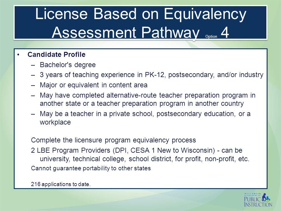 License Based on Equivalency Assessment Pathway Basic Skills Test Major/ or Major equiv.