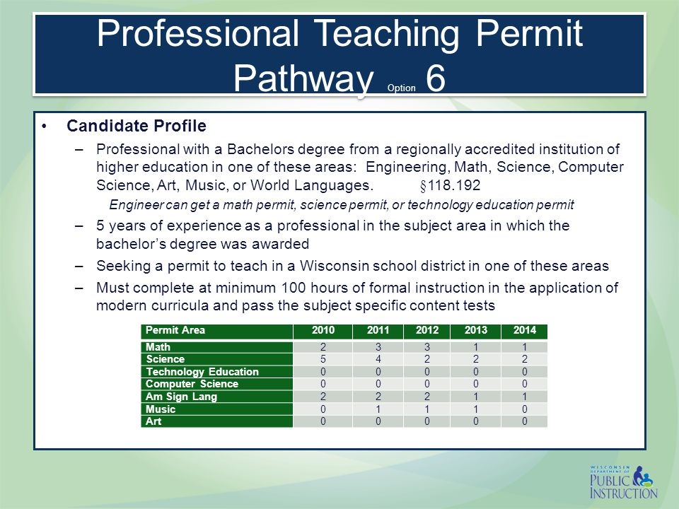Professional Teaching Permit Pathway Option 6 Candidate Profile –Professional with a Bachelors degree from a regionally accredited institution of higher education in one of these areas: Engineering, Math, Science, Computer Science, Art, Music, or World Languages.