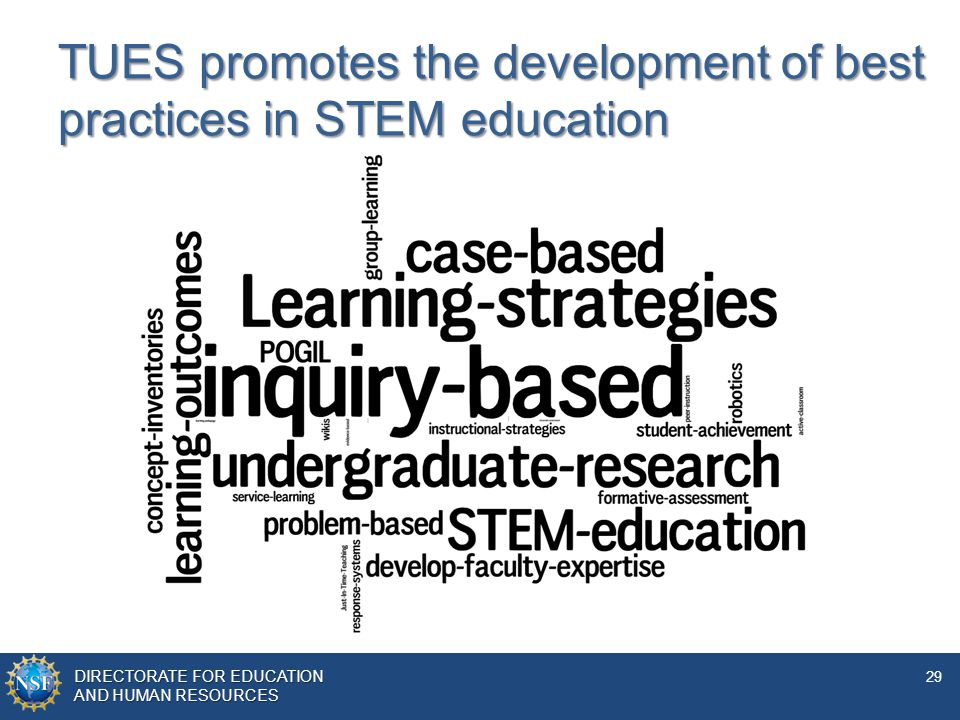 DIRECTORATE FOR EDUCATION AND Human resources DIRECTORATE FOR EDUCATION AND HUMAN RESOURCES 29 TUES promotes the development of best practices in STEM