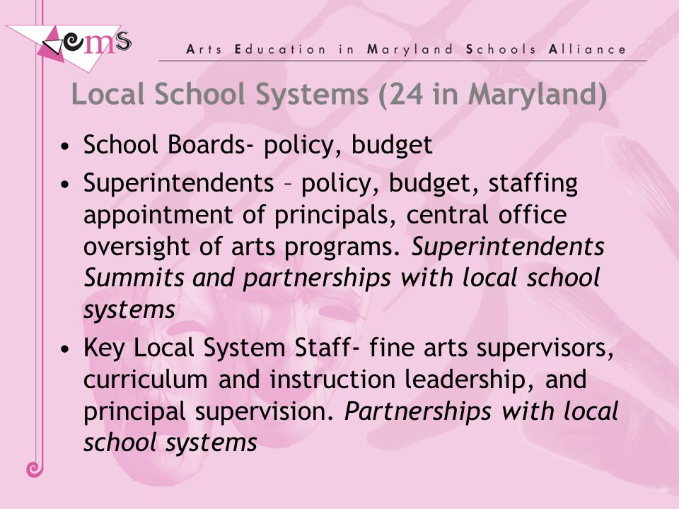 Local School Systems (24 in Maryland) School Boards- policy, budget Superintendents – policy, budget, staffing appointment of principals, central office oversight of arts programs.