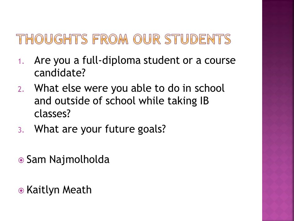 1. Are you a full-diploma student or a course candidate.