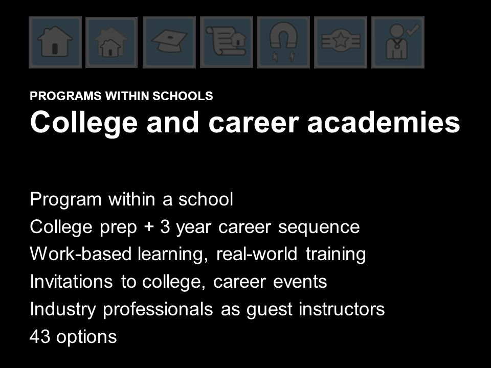 PROGRAMS WITHIN SCHOOLS College and career academies Program within a school College prep + 3 year career sequence Work-based learning, real-world training Invitations to college, career events Industry professionals as guest instructors 43 options