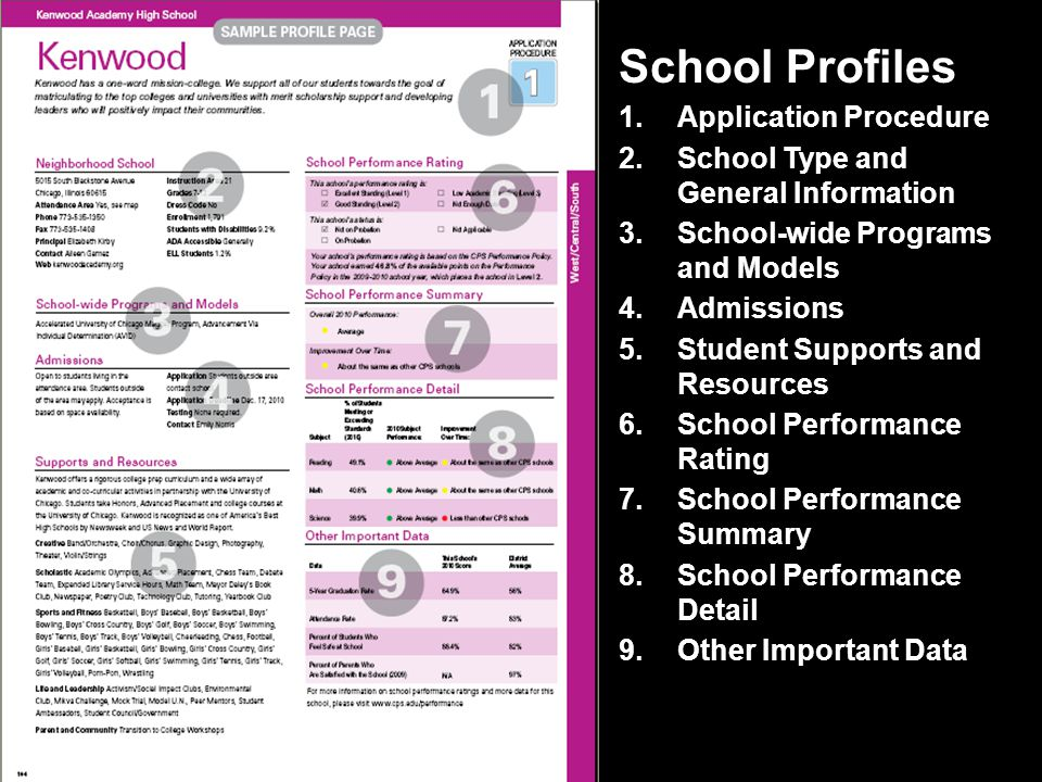 School Profiles 1.Application Procedure 2.School Type and General Information 3.School-wide Programs and Models 4.Admissions 5.Student Supports and Resources 6.School Performance Rating 7.School Performance Summary 8.School Performance Detail 9.Other Important Data