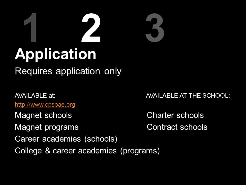 123 Application Requires application only AVAILABLE at: AVAILABLE AT THE SCHOOL: http://www.cpsoae.org Magnet schools Charter schools Magnet programs