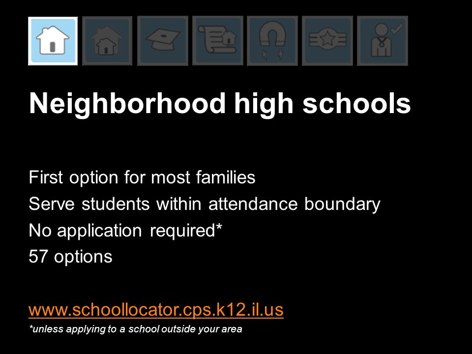 Neighborhood high schools First option for most families Serve students within attendance boundary No application required* 57 options www.schoollocat