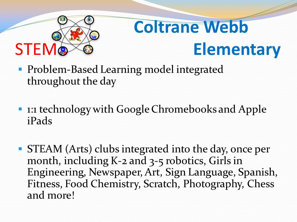  Problem-Based Learning model integrated throughout the day  1:1 technology with Google Chromebooks and Apple iPads  STEAM (Arts) clubs integrated into the day, once per month, including K-2 and 3-5 robotics, Girls in Engineering, Newspaper, Art, Sign Language, Spanish, Fitness, Food Chemistry, Scratch, Photography, Chess and more!