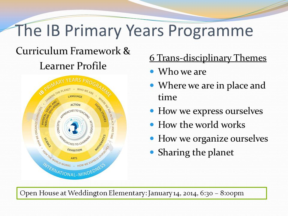 The IB Primary Years Programme Curriculum Framework & Learner Profile 6 Trans-disciplinary Themes Who we are Where we are in place and time How we express ourselves How the world works How we organize ourselves Sharing the planet Open House at Weddington Elementary: January 14, 2014, 6:30 – 8:00pm