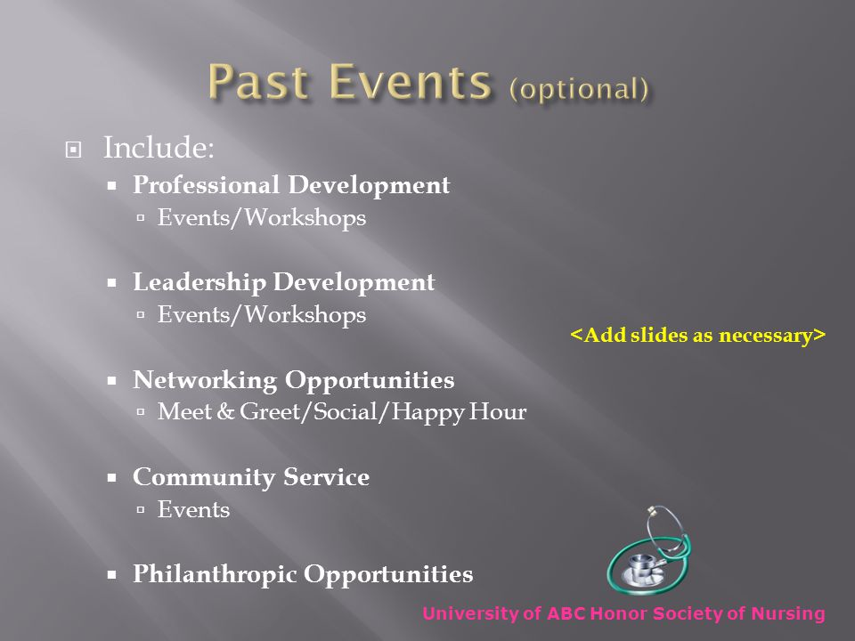  Include:  Professional Development  Events/Workshops  Leadership Development  Events/Workshops  Networking Opportunities  Meet & Greet/Social/Happy Hour  Community Service  Events  Philanthropic Opportunities University of ABC Honor Society of Nursing