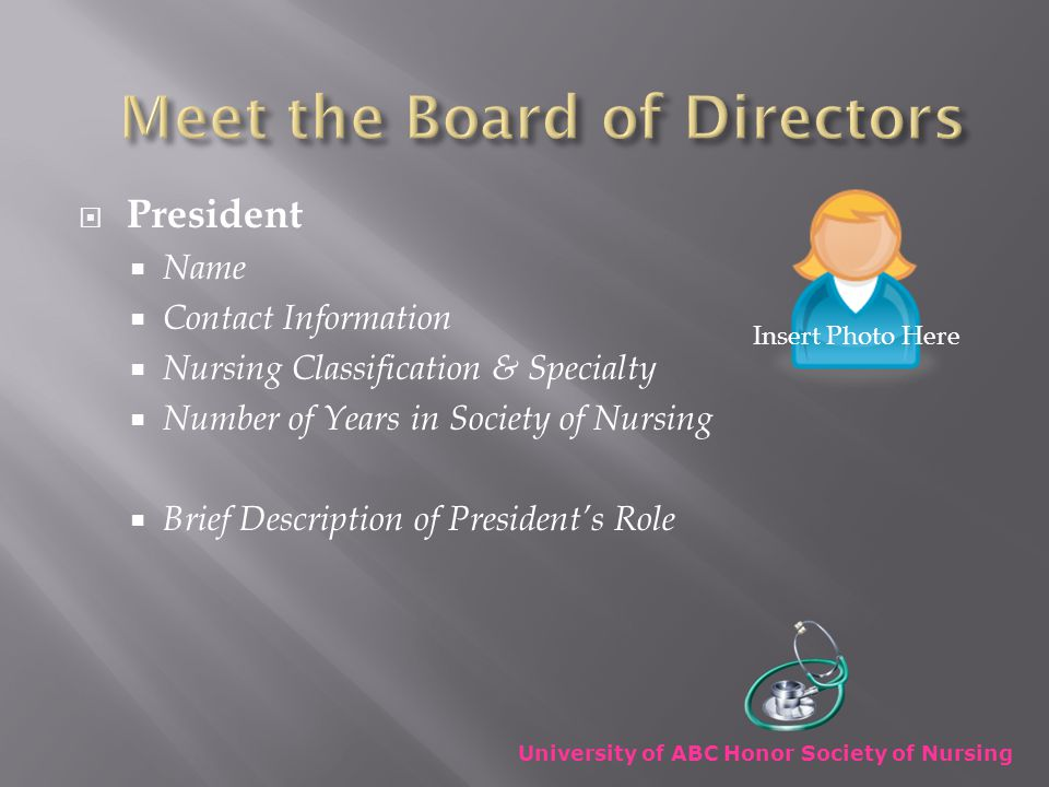  Vice President  Name  Contact Information  Nursing Classification & Specialty  Number of Years in Society of Nursing  Brief Description of Vice President's Role University of ABC Honor Society of Nursing Insert Photo Here