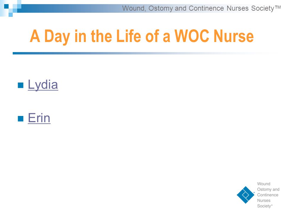 Wound, Ostomy and Continence Nurses Society™ Lydia Erin A Day in the Life of a WOC Nurse