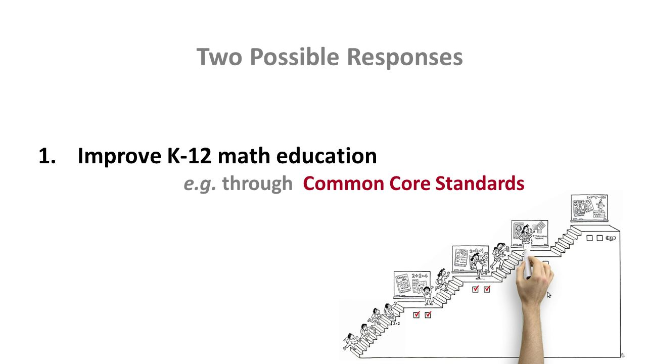 Two Possible Responses 1.Improve K-12 math education e.g. through Common Core Standards
