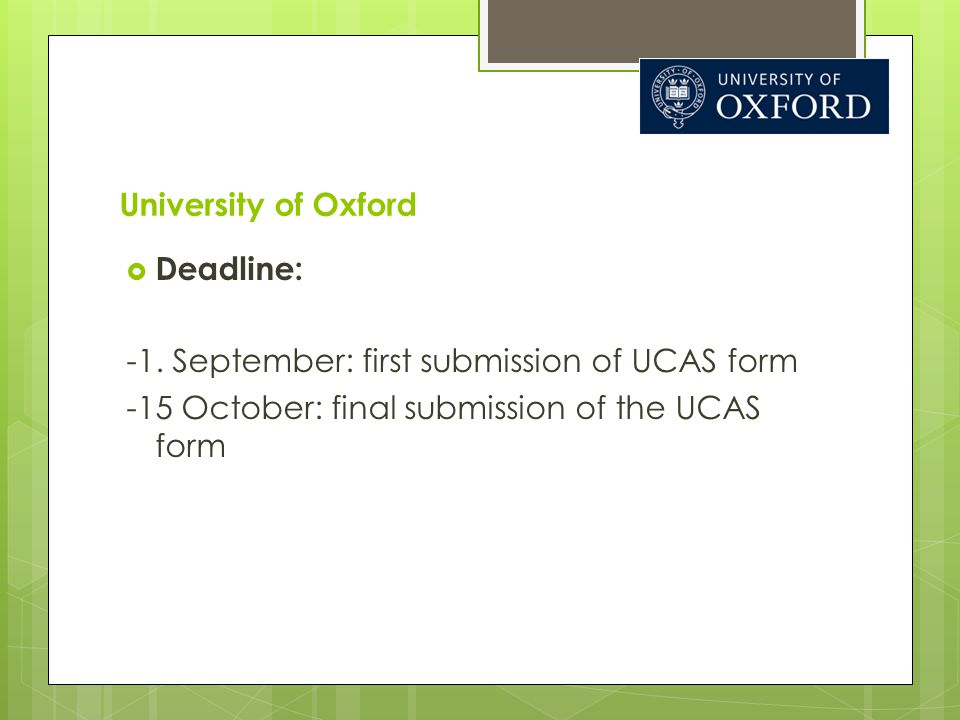 University of Oxford  Deadline: -1.