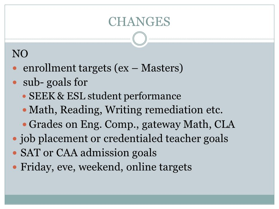 CHANGES NO enrollment targets (ex – Masters) sub- goals for SEEK & ESL student performance Math, Reading, Writing remediation etc.