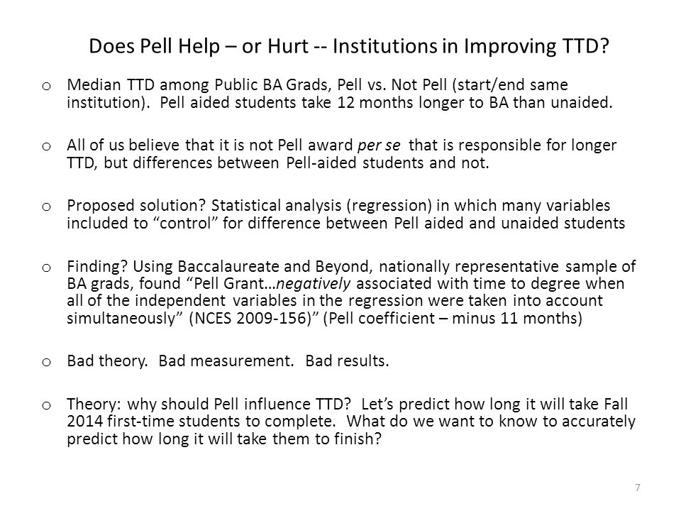 Does Pell Help – or Hurt -- Institutions in Improving TTD.