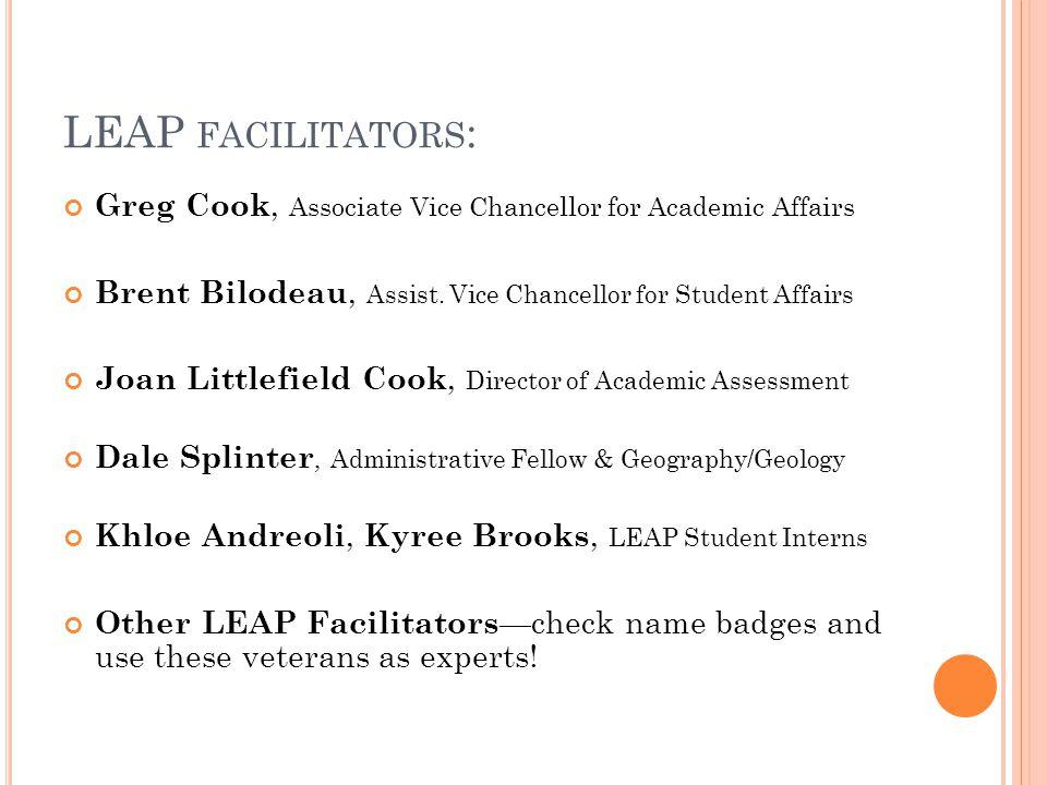 LEAP FACILITATORS : Greg Cook, Associate Vice Chancellor for Academic Affairs Brent Bilodeau, Assist.