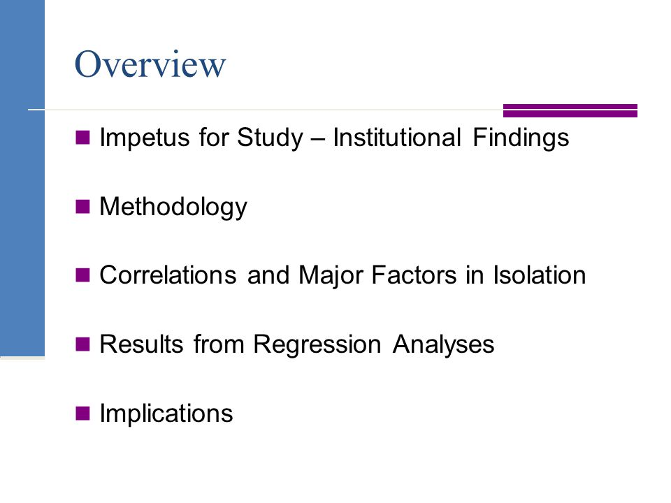 Overview Impetus for Study – Institutional Findings Methodology Correlations and Major Factors in Isolation Results from Regression Analyses Implications