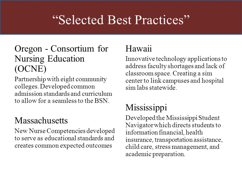 """""""Selected Best Practices"""" Oregon - Consortium for Nursing Education (OCNE) Partnership with eight community colleges. Developed common admission stand"""