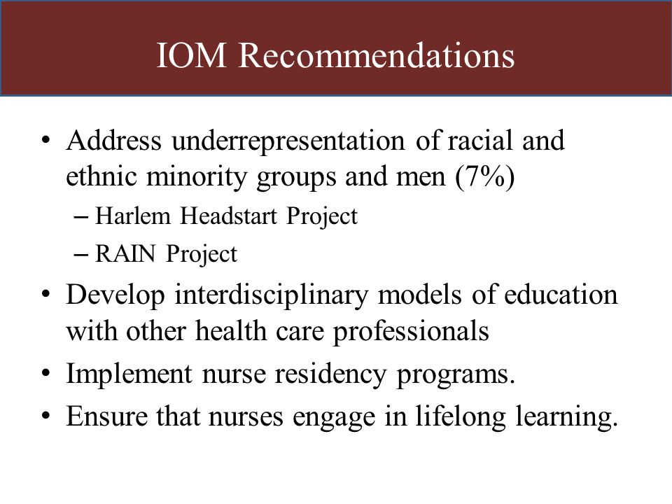 IOM Recommendations Address underrepresentation of racial and ethnic minority groups and men (7%) – Harlem Headstart Project – RAIN Project Develop in