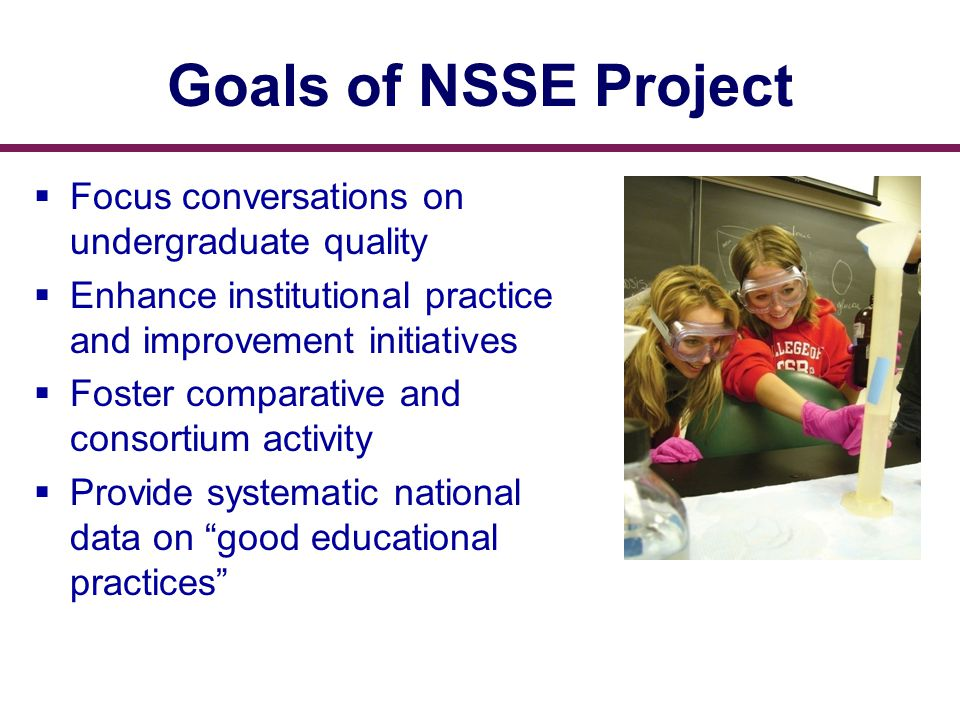 Goals of NSSE Project  Focus conversations on undergraduate quality  Enhance institutional practice and improvement initiatives  Foster comparative and consortium activity  Provide systematic national data on good educational practices