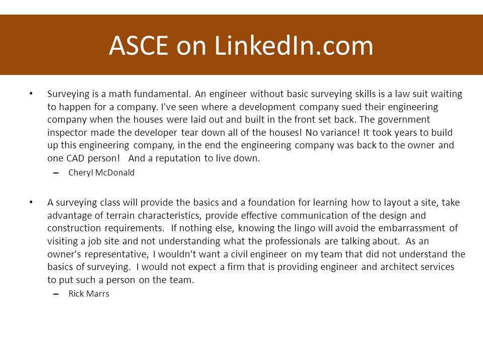 ASCE on LinkedIn.com Surveying is a math fundamental.
