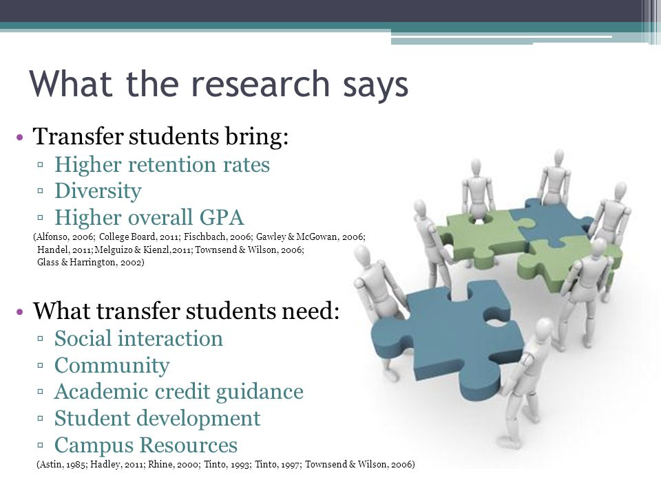 What the research says Transfer students bring: ▫Higher retention rates ▫Diversity ▫Higher overall GPA (Alfonso, 2006; College Board, 2011; Fischbach,
