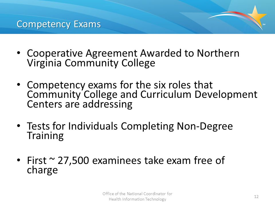 Competency Exams Cooperative Agreement Awarded to Northern Virginia Community College Competency exams for the six roles that Community College and Cu