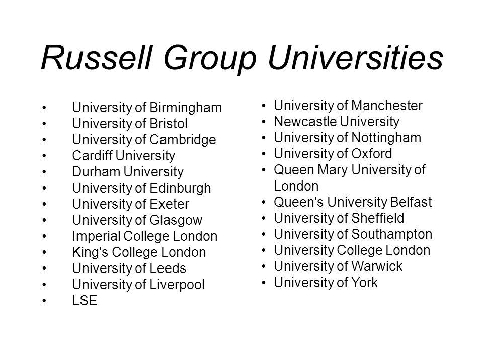 Russell Group Universities University of Manchester Newcastle University University of Nottingham University of Oxford Queen Mary University of London
