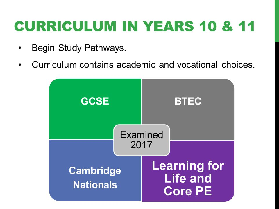 CURRICULUM IN YEARS 10 & 11 Begin Study Pathways. Curriculum contains academic and vocational choices. GCSEBTEC Cambridge Nationals Learning for Life
