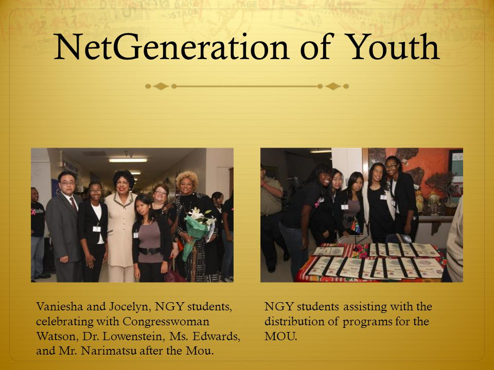 NetGeneration of Youth Vaniesha and Jocelyn, NGY students, celebrating with Congresswoman Watson, Dr.