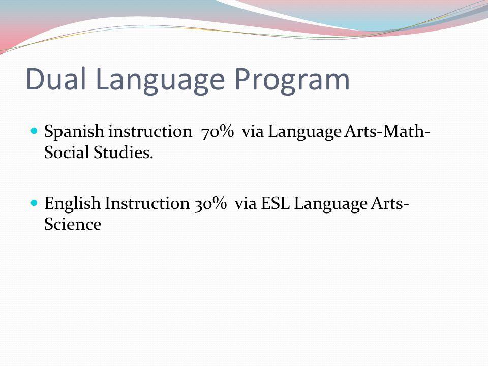 Dual Language Program Spanish instruction 70% via Language Arts-Math- Social Studies.