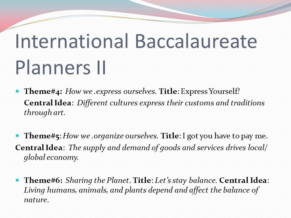 International Baccalaureate Planners II Theme#4: How we.express ourselves.