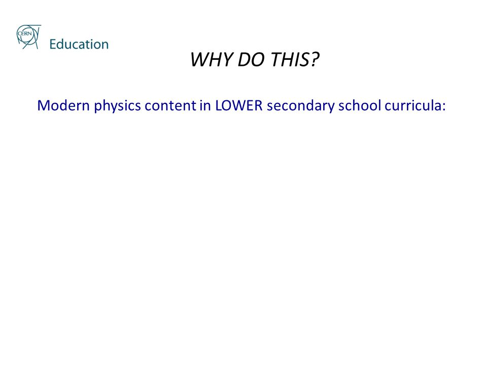 WHY DO THIS? Modern physics content in LOWER secondary school curricula: