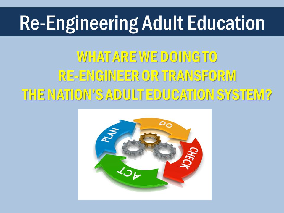WHAT ARE WE DOING TO RE-ENGINEER OR TRANSFORM THE NATION'S ADULT EDUCATION SYSTEM.