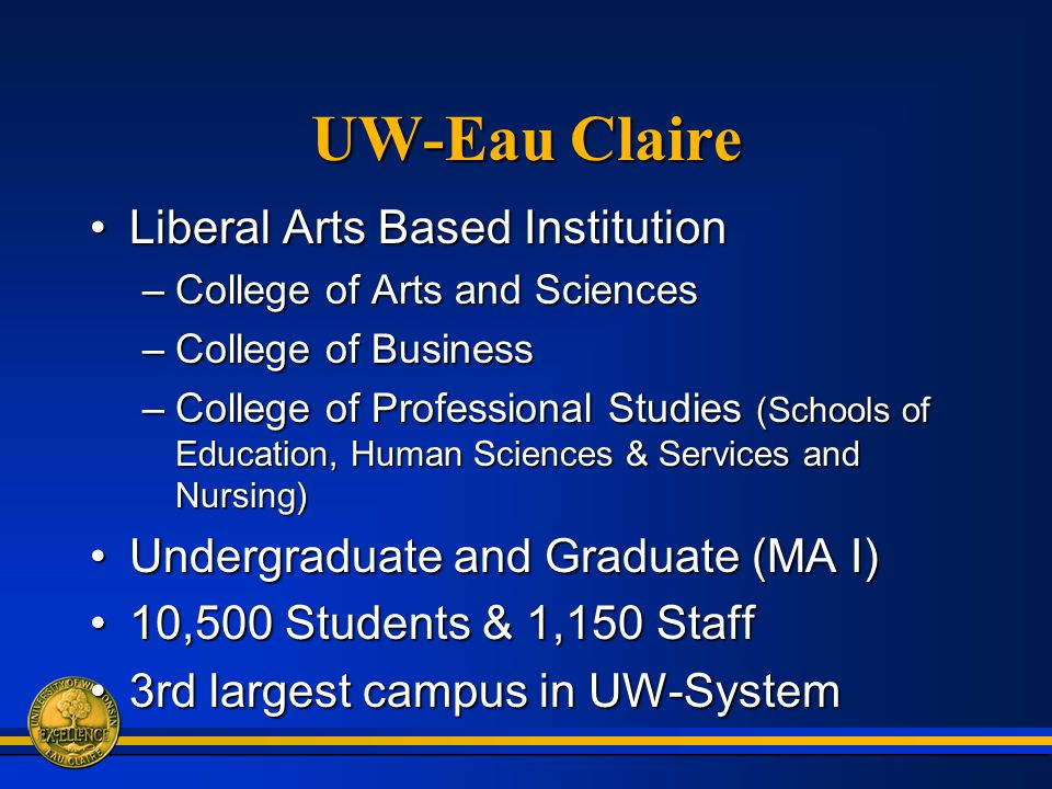 UW-Eau Claire Liberal Arts Based InstitutionLiberal Arts Based Institution –College of Arts and Sciences –College of Business –College of Professional Studies (Schools of Education, Human Sciences & Services and Nursing) Undergraduate and Graduate (MA I)Undergraduate and Graduate (MA I) 10,500 Students & 1,150 Staff10,500 Students & 1,150 Staff 3rd largest campus in UW-System3rd largest campus in UW-System