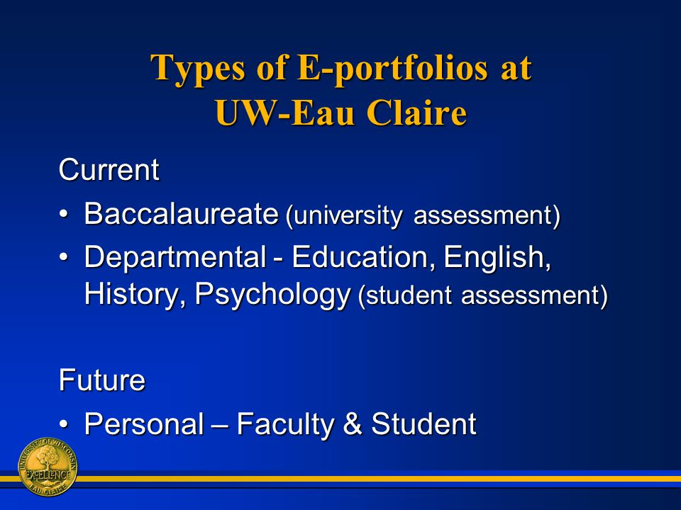 Types of E-portfolios at UW-Eau Claire Current Baccalaureate (university assessment)Baccalaureate (university assessment) Departmental - Education, English, History, Psychology (student assessment)Departmental - Education, English, History, Psychology (student assessment)Future Personal – Faculty & StudentPersonal – Faculty & Student