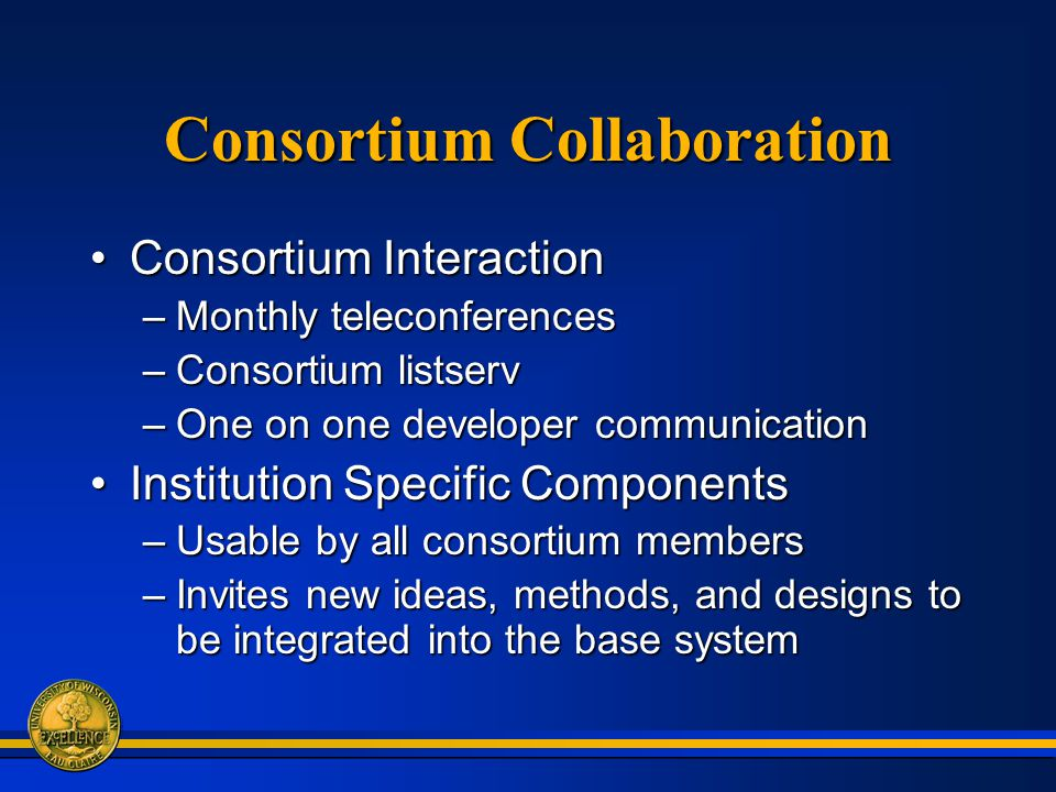 Consortium Collaboration Consortium InteractionConsortium Interaction –Monthly teleconferences –Consortium listserv –One on one developer communication Institution Specific ComponentsInstitution Specific Components –Usable by all consortium members –Invites new ideas, methods, and designs to be integrated into the base system