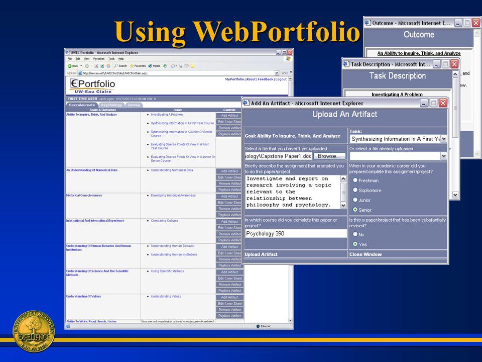 Using WebPortfolio